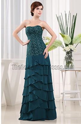 Elegant Dark Green Chiffon Mother of The Bride Dress Prom Gown