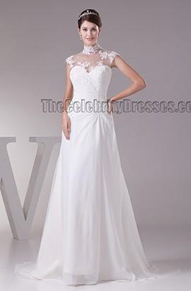 Elegantes ärmelloses A-Line-Brautkleid mit hohem Halsausschnitt und hohem Halsausschnitt
