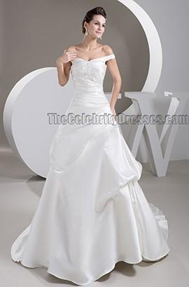 Elegantes schulterfreies A-Line-Kapellenzug-Hochzeitskleid
