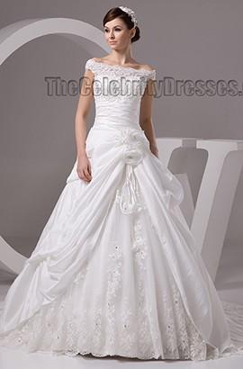 Elegant Off-the-Shoulder A-Line Chapel Train Wedding Dresses