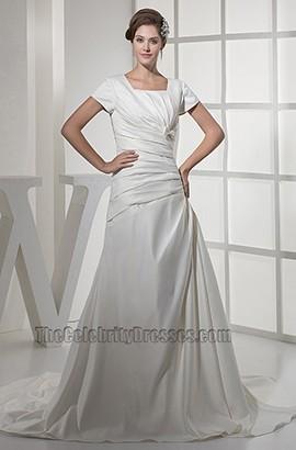 Elegantes A-Linien Taft Brautkleid mit kurzen Ärmeln