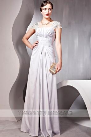 Elegant Silver Beaded Cap Sleeves Evening Prom Dresses