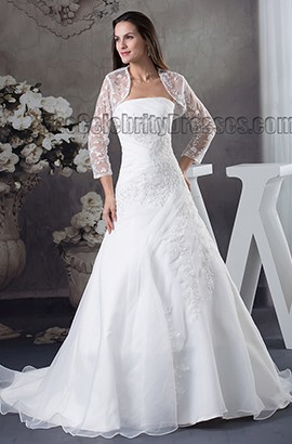 Elegant Strapless A-Line Chapel Train Embroidery Wedding Dress