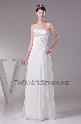 Elegant Strapless A-Line Embroidery Wedding Dresses