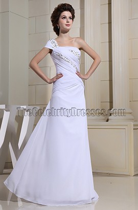 Elegant White One Shoulder Beaded Prom Dress Formal Dresses