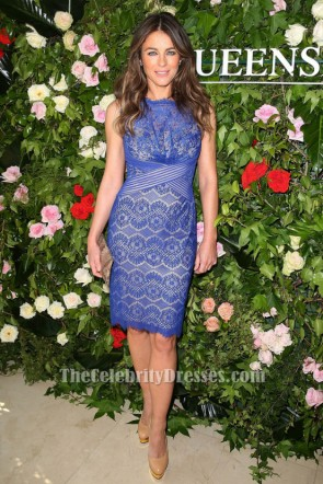 Elizabeth Hurley Inspired Blue Lace Cocktail Party Dress TCDTB010
