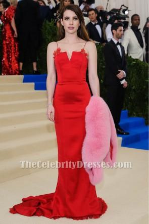 Emma Roberts Red Abendkleid 2017 MET Gala Rote Teppich Berühmtheit Kleider