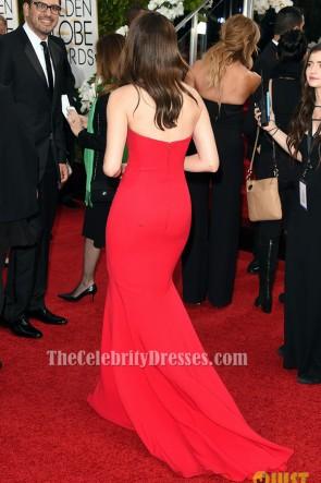 Emmy Rossum rotes formales Kleid Golden Globes 2016 roter Teppichkleid