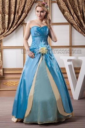 Floor Length Blue And Daffodil Lace Up Strapless Evening Prom Dresses