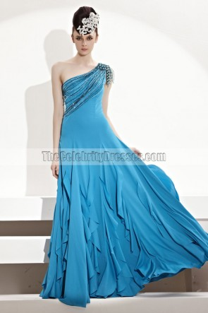 Floor Length Blue One Shoulder Evening Gown Prom Dress With Beading