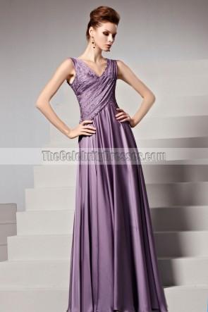 Floor Length Purple Beaded V-Neck Formal Gown Evening Dresses