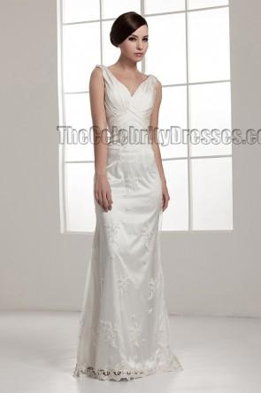 Floor Length Sheath/Column Drop Back Wedding Dresses