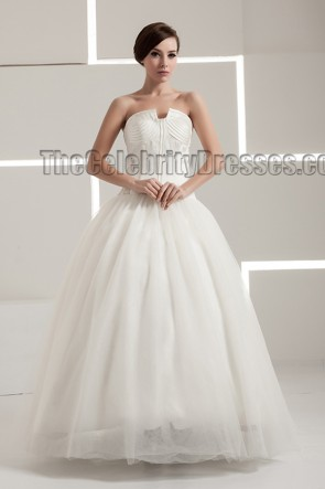 New Design Floor Length Strapless A-Line Wedding Dresses