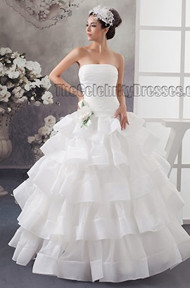Floor Length Strapless Ball Gown Organza Wedding Dresses