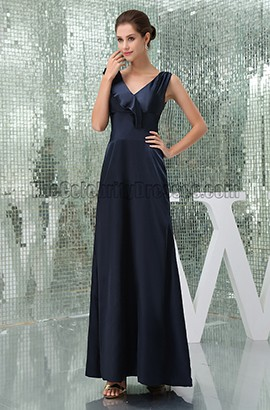 Floor Length Dark Navy Prom Gown Evening Military Ball Gown