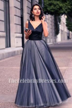 Bodenlangen V-Ausschnitt ärmellose A-Linie Abendkleid formales Kleid
