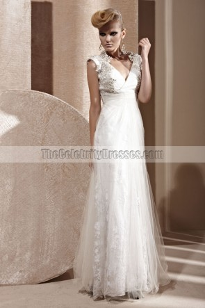 Floor Length White V-Neck Formal Dress Evening Gown