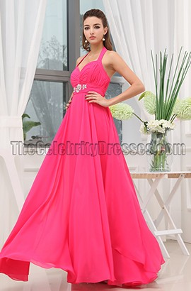 Fuchsia Halter Chiffon Long Bridesmaid Prom Dresses