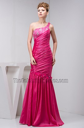 Fuchsia One Shoulder Trumpet/Mermaid Evening Gown Prom Dress