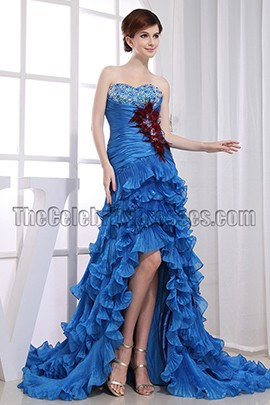 Glamorous Blue Strapless High Low Prom Dress Formal Dresses