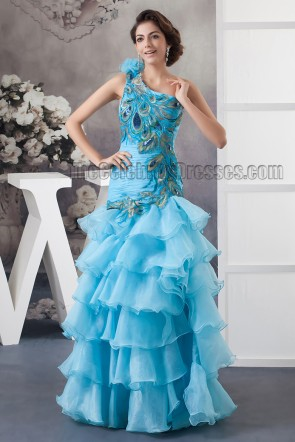 Gorgeous Blue One Shoulder Floor Length Evening Dress Prom Gown