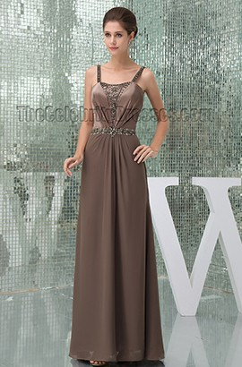 Gorgeous Brown Beaded Prom Gown Bridesmaid Evening Dresses