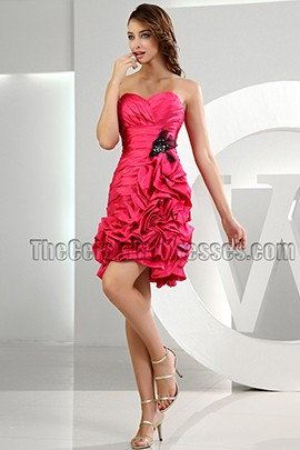 Gorgeous Fuchsia Strapless Short Mini Party Dress Homecoming Dresses
