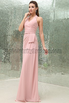 Floor Length Pink Halter Prom Dress Evening Bridesmaid Dresses