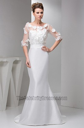 Gorgeous Sheath/Column Chapel Train Wedding Dress With Sleeves