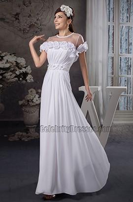Wunderschönes bodenlanges Chiffon-Brautkleid aus Scheide und Säule