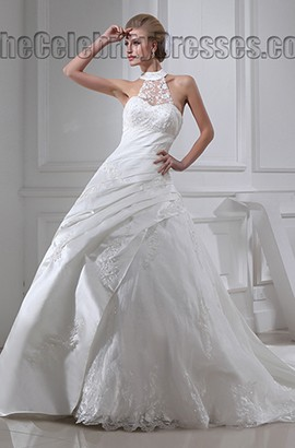 Gorgeous Sleeveless A-Line Chapel Train Embroidery Wedding Dress