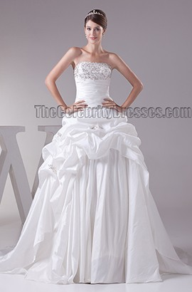 Gorgeous Strapless Beaded A-Line Taffeta Chapel Train Wedding Dress