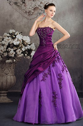 Floor Length Purple Strapless Embroidery A-Line Formal Dresses