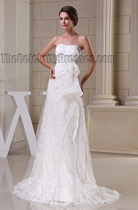 Gorgeous Strapless Lace Sweep/Brush Train Wedding Dress