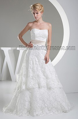 Gorgeous Strapless Lace Sweep Brush Train Wedding Dress With A Wrap