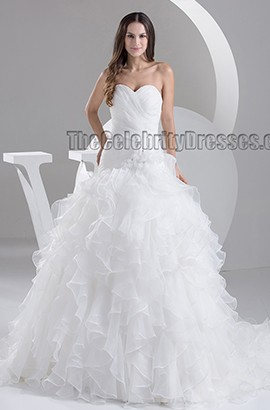 Gorgeous Strapless Sweetheart Ball Gown Lace Up Wedding Dresses