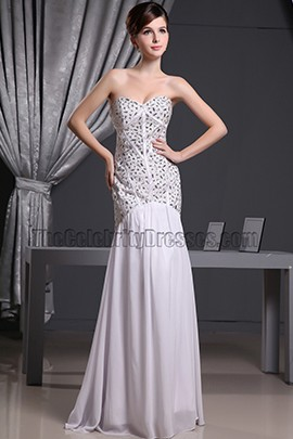 White Beaded Strapless Sweetheart Mermaid Formal Dress Prom Gown