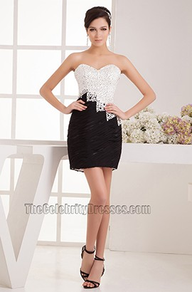 White And Black Sliver Sequined Party Graduation Dresses
