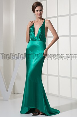 Sexy Deep V-Neck Backless Evening Gown Prom Dresses