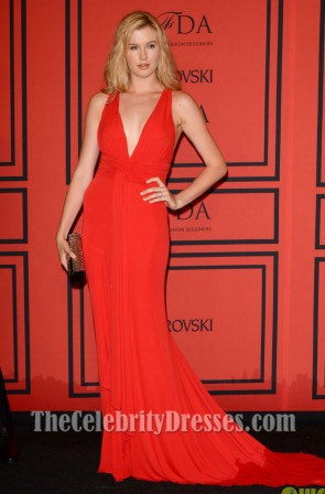 Ireland Baldwin Red Prom Dress Backless Evening Gown 2013 CFDA Fashion Awards