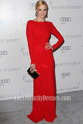 Jaime King Red Long Sleeve Evening Dress art of Elysium gala