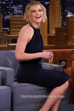 Jennifer Lawrence Schwarzer Halfter Partykleid 'Tonight Show' Besuch TCD6259