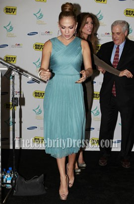 Jennifer Lopez Blue Chiffon Cocktail Dress Maribel Foundation 2011