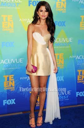 Selena Gomez Chic Short Party Dress 2011 Teen Choice Awards Pals Blue Carpet