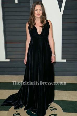 Keira Knightley Schwarzes Samt-Abendkleid Vanity Fair Oscar Party 2015