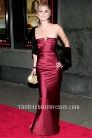 Keira Knightley trägerlosen Burgund Abendkleid Premiere von Stolz und Vorurteil