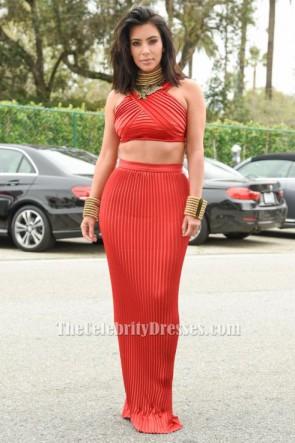Kim Kardashian Zwei Stücke Rotes Kleid Roc Nation Pre-Grammy Brunch TCD6066