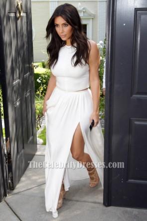 Kim Kardashian 'Ciara's Baby Shower Outfit 'Weiß Zwei Stücke Kleid TCD6229