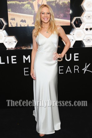 Kylie Minogue White Slip Spaghetti Straps Lange Backless Abendkleid Start der Eyewear Collection