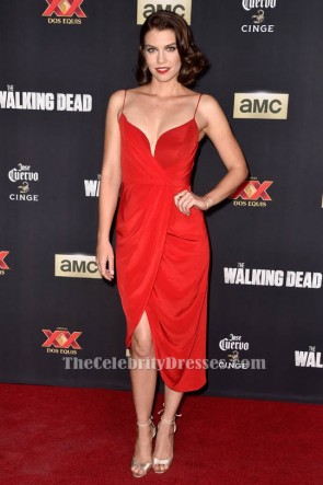 Lauren Cohan Red Cocktail High Low Dress Walking Dead Season 5 Premiere TCD6405